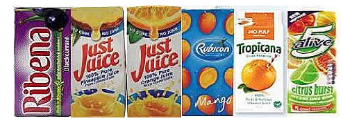 ribena, just juice, rubicon, tropicana