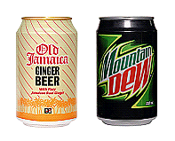 old jamaican ginger beer cans, mountain dew cans