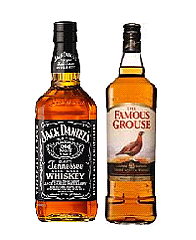 jack daniels ,  famous grouse  whiskey